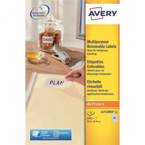 Avery Mini Multipurpose Labels Removable Laser 80 per Sheet 35.6x16.9mm Wht Ref L4732REV-25 [2000 Labels]
