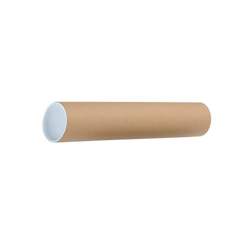 Postal Tube Cardboard with Plastic End Caps L450xDia.76mm [Pack 12]