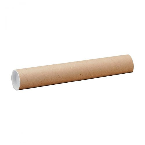 Postal Tube Cardboard with Plastic End Caps L610xDia.76mm [Pack 12]