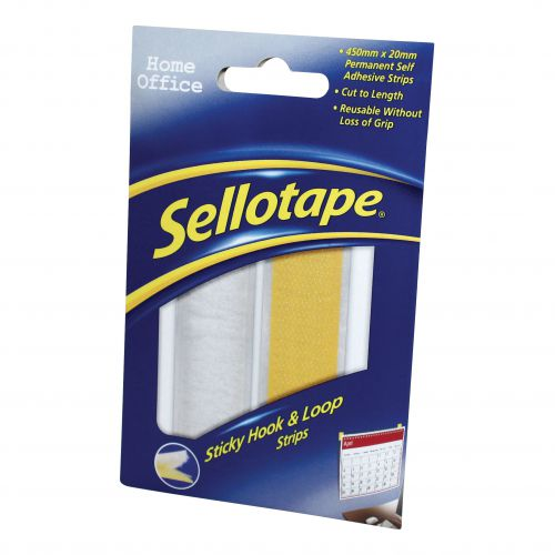 Sellotape Permanent Sticky Hook and Loop Strips in a Wallet 20x450mm Ref 1445183