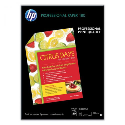 Hewlett Packard [HP] Professional Inkjet Paper Double-sided Glossy 180gsm A3 Ref C6821A [50 Sheets]