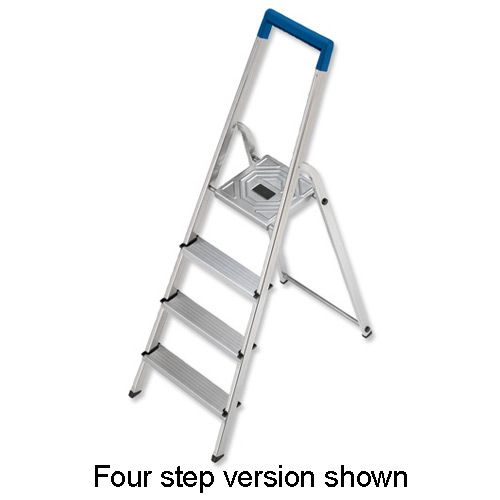 Folding Aluminium Ladder 3 Non Slip Ribbed Steps Capacity 150kg 3.5kg