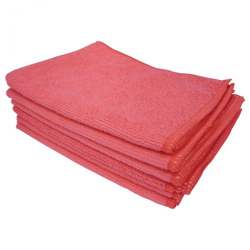 5 Star Facilities Microfibre Cleaning Cloths Colour-coded for Dry or Damp Multi-surface Use Red [Pack 6]