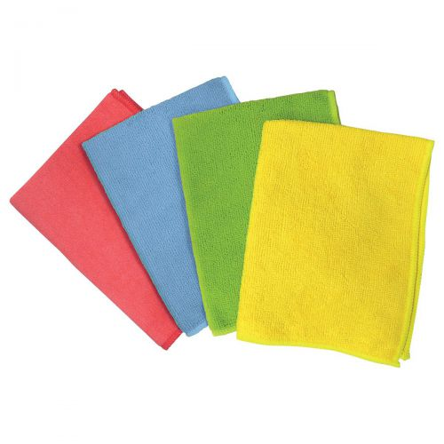 5 Star Facilities Microfibre Cleaning Cloths Colour-coded Dry or Damp Multi-surface Use Green [Pack 6]