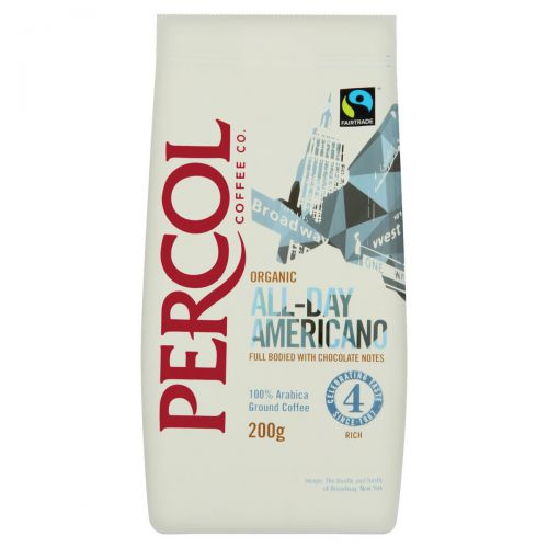 Percol Fairtrade All Day Americano Ground Coffee Organic Arabica High Roast 200g Ref 0403154