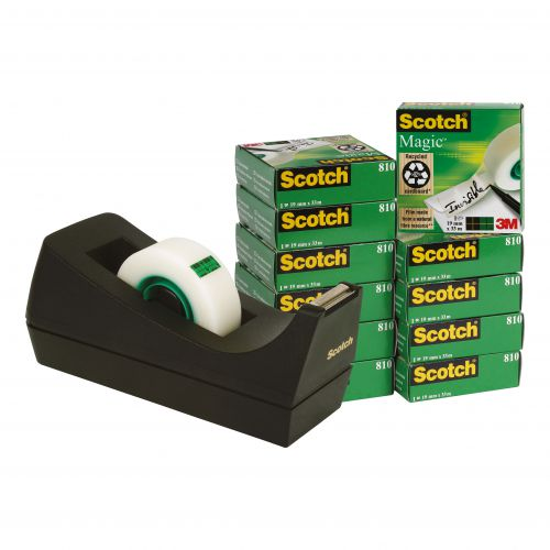 Scotch Magic Tape Value Pack 19mmx33m Ref SM12 [12 Rolls & FREE Dispenser]