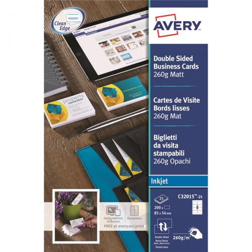 Avery Quick and Clean Business Cards Inkjet 260gsm 8 per Sheet Matt Coated Ref C32015-25 [200 Cards]