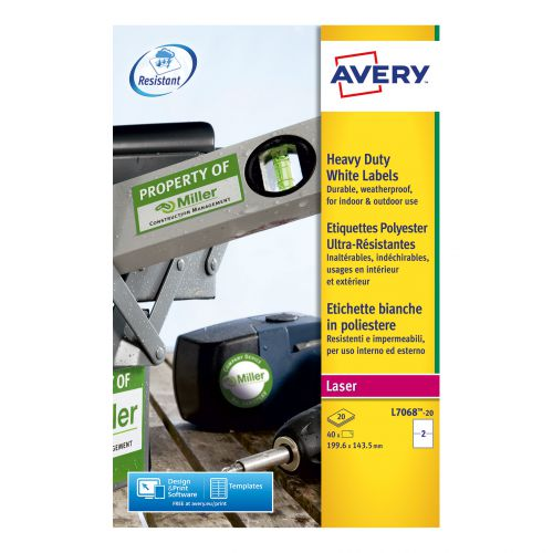 Avery Heavy Duty Labels Laser 2 per Sheet 199.6x143.5mm White Ref L7068-20 [40 Labels]