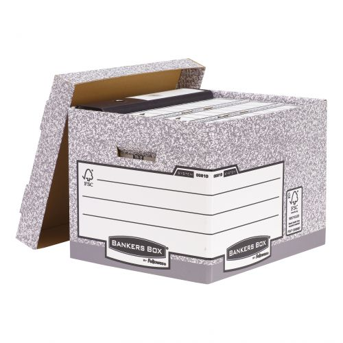Bankers Box by Fellowes System Standard Storage Box Foolscap FSC Ref 00810-FF [Pack 10]