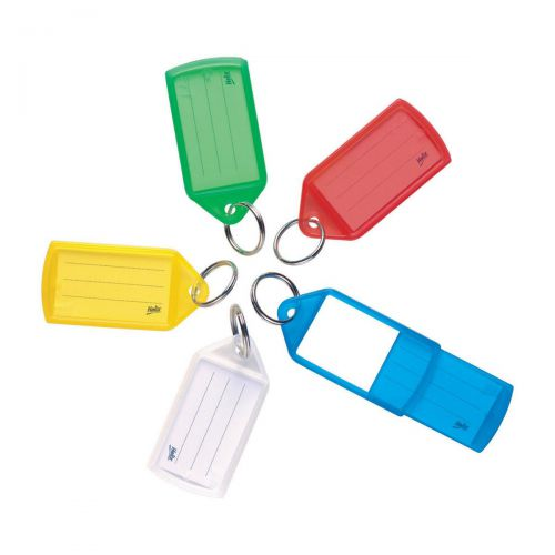 5 Star Facilities Sliding Key Fob Coloured Large Label Area 51x33mm25mm Ring Assorted [Pack 50]