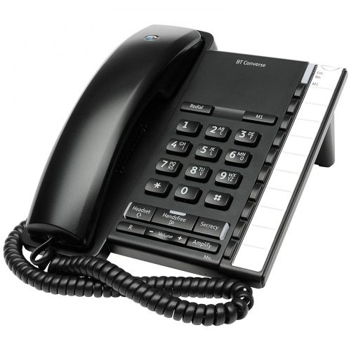 BT Converse 2200 Telephone Wall-mountable 10 Number Memory Black Ref 040208