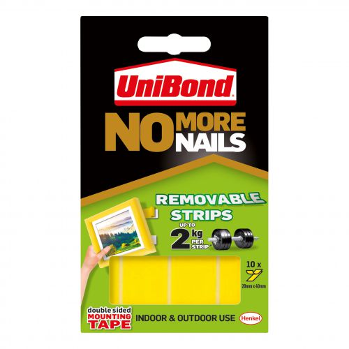 Unibond No More Nails Strip Ultra-strong Removable Translucent Ref 781739 [Pack 10]