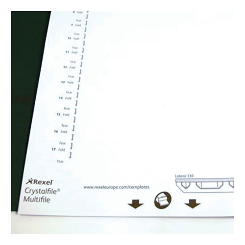 Rexel Crystalfile Classic Card Inserts for Lateral Suspension File Tabs White Ref 70676 [Labels 34]