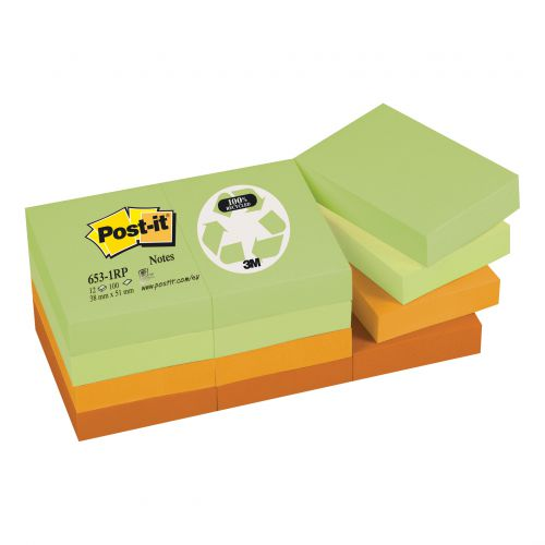 Post-it Notes Recycled 100 Sheets per Pad 38x51mm Pastel Rainbow Ref 6531RP [Pack 12]