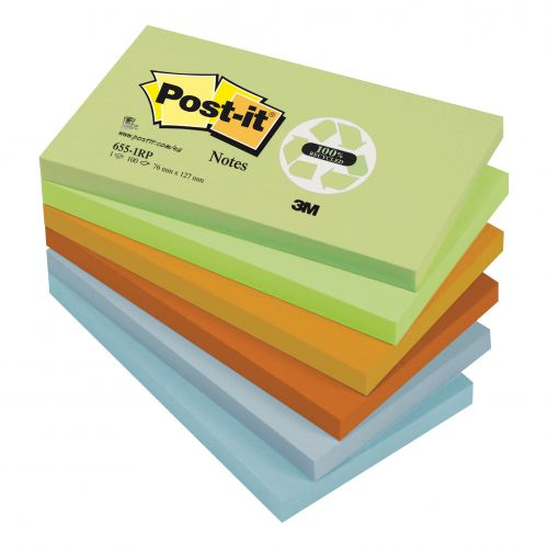 Post-it Notes Recycled 100 Sheets per Pad 76x127mm Pastel Rainbow Ref 6551RP [Pack 12]