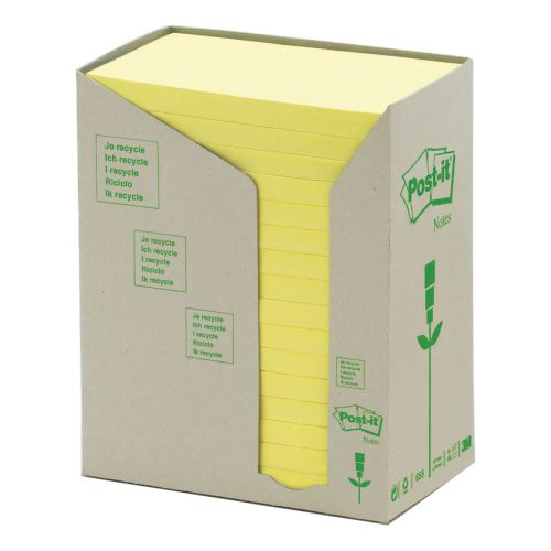 Post-it Note Recycled Tower Pack 76x127mm Pastel Yellow Ref 655-1T [Pack 16]