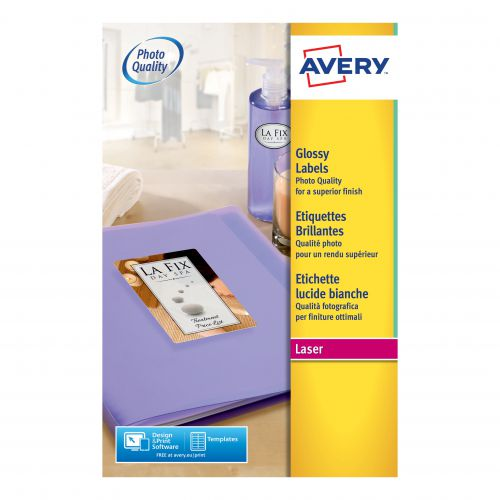 Avery Glossy Labels Laser Photographic Finish 8 per Sheet 99.1x67.7mm White Ref L7765-40 [320 Labels]