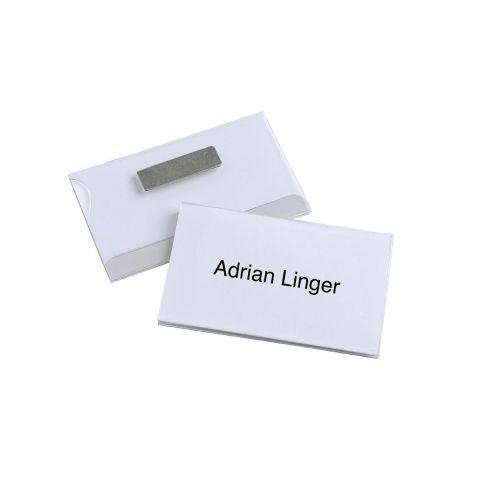 Durable Name Badges Magnetic W90xH54mm Transparent PVC Ref 8117 [Pack 25]
