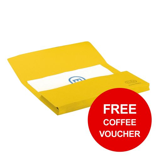 Elba StrongLine Manilla Document Wallet 320gsm 32mm Foolscap Yellow Ref 100090141 [Pack 25]