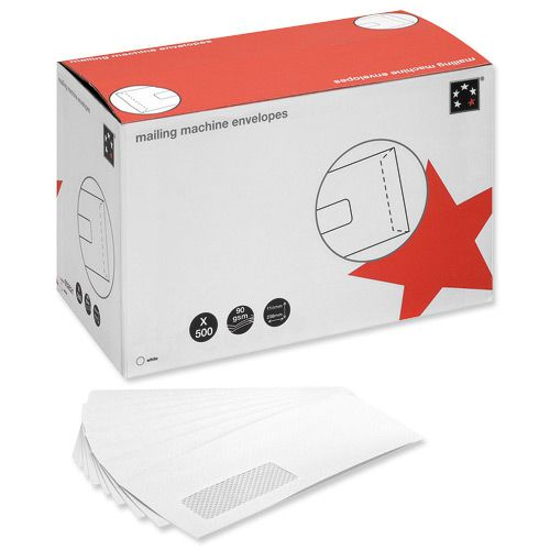 5 Star Office Envelopes Mailing Machine Wallet Gummed with Window 90gsm DL 162x238mm White [Pack 500]