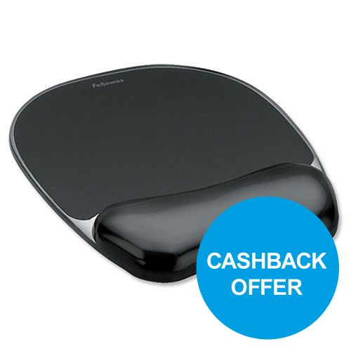 Fellowes Crystal Mouse Mat Pad with Wrist Rest Gel Black Ref 9112101 [REDEMPTION] Oct-Dec19