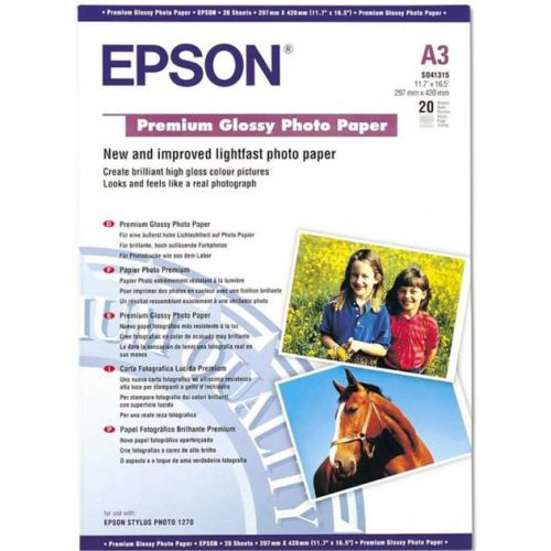 Epson Premium Photo Paper Glossy 255gsm A3 White Ref C13S041315 [20 Sheets]