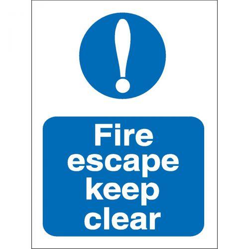 Stewart Superior Fire Escape Keep Clear Sign W150xH200mm Self-adhesive Vinyl Ref M025SAV