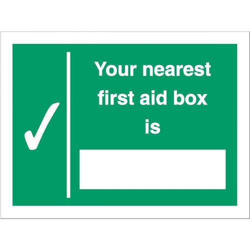 Stewart Superior Your Nearest First Aid Box Is Sign W200xH150mm Self Adhesive Vinyl Ref SP075SAV