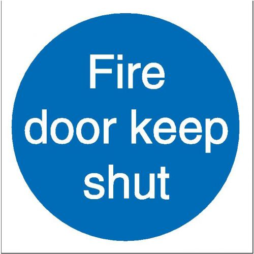 Stewart Superior Fire Door Keep Shut Sav Signs W100xH100 Self-adhesive Vinyl Ref M014SAV [Pack 5]