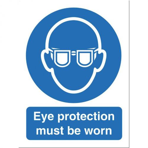 Stewart Superior Eye Protection Must Be Worn Sign W150xH200mm Self-adhesive Vinyl Ref M004SAV