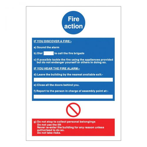 Stewart Superior Fire Action / If you discover fire Sign W210xH297mm Polypropylene Ref M011PVC