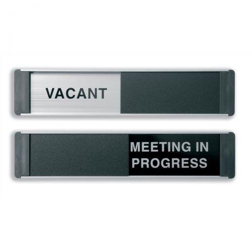 Stewart Superior Vacant/Meeting In Progress Door Panel Aluminium/PVC W255xH52mm Self-adhesive Ref OF139