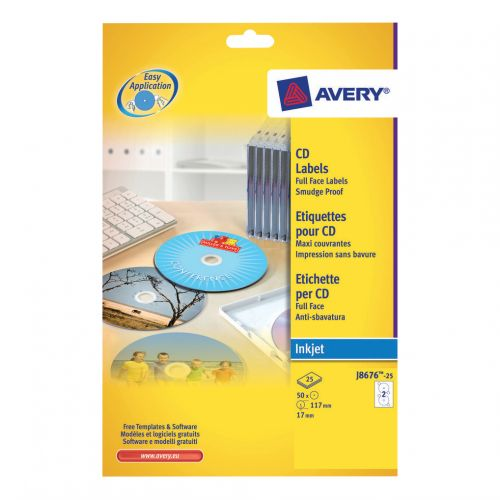 Avery Labels CD Inkjet J8676-25                             ation White Ref J8676-25 [50 Labels]