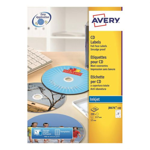Avery CD/DVD Labels Inkjet 2 per Sheet Dia.117mm Easy Application White Ref J8676-100 [200 Labels]