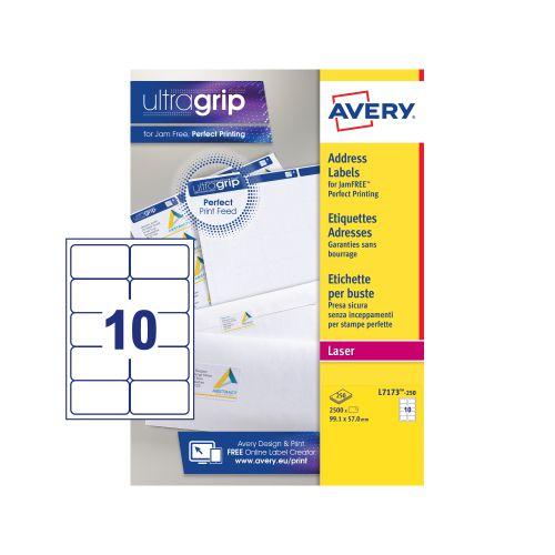 Avery Addressing Labels Laser Jam-free 10 per Sheet 99.1x57mm White Ref L7173-250 [2500 Labels]