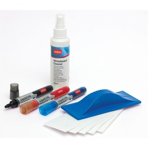 Nobo Whiteboard Starter Kit 3 Markers Eraser Refills and 125ml Cleaning Fluid Spray Ref 34438861