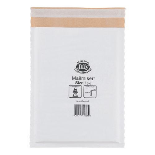 Jiffy Mailmiser Protective Envelopes Bubble-lined Size 1 P&S 170x245mm White Ref JMM-WH-1 [Pack 100]