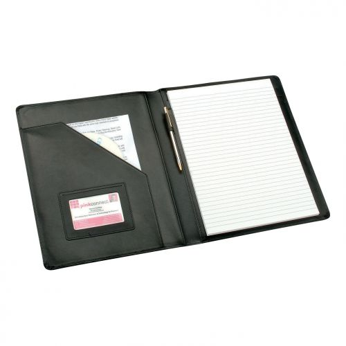 5 Star Elite Executive Conference Folder Genuine Leather Capacity 30mm A4 Black