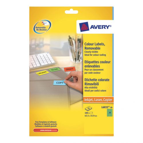Avery Coloured Labels Removable Laser 24 per Sheet 63.5x33.9mm Green Ref L6033-20 [480 Labels]