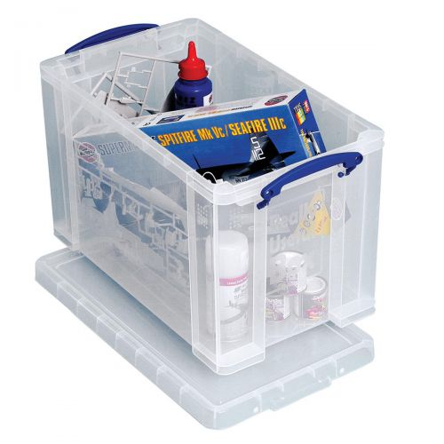 Really Useful Storage Box Plastic Lightweight Robust Stackable 24 Litre W270xD464xH282mm Clear Ref 24C