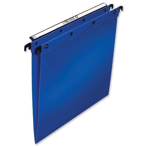 Elba Ultimate Linking Suspension File Polypropylene 15mm V-base Foolscap Blue Ref 100330370 [Pack 25]