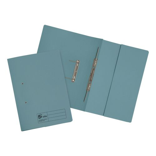 5 Star Elite Transfer Spring Pocket File Heavyweight 315gsm Foolscap Blue [Pack 25]