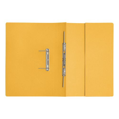 5 Star Elite Transfer Spring Pocket File Heavyweight 315gsm Foolscap Yellow [Pack 25]