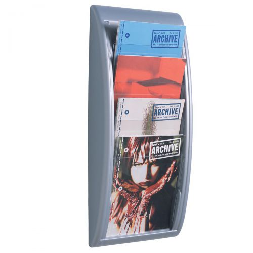 Fast Paper Literature Holder Wall Mount 4 x A4 Pockets Portrait Aluminium Silver Ref 4061.35