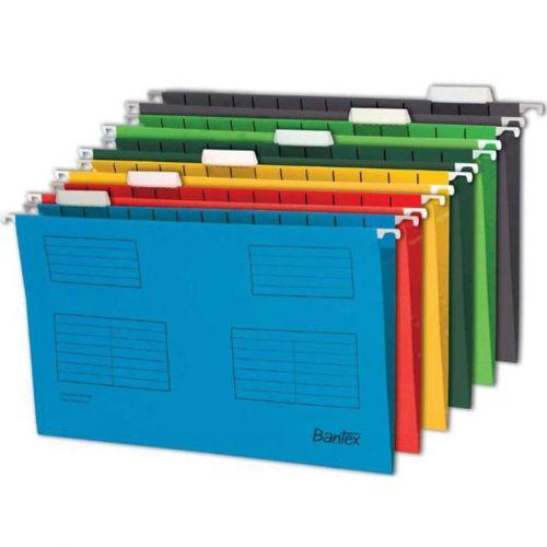 Bantex Flex Suspension File Kraft V-Base 15mm 220gsm Foolscap Blue Ref 100331437 [Pack 25]
