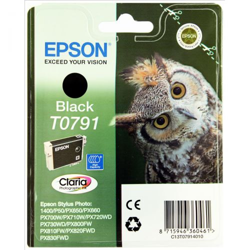 Epson T0791 Inkjet Cartridge Owl High Yield Page Life 470pp 11ml Black Ref C13T07914010