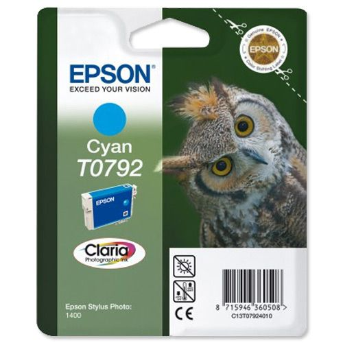 Epson T0792 Inkjet Cartridge Owl High Yield Page Life 1345pp 11ml Cyan Ref C13T07924010