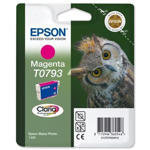 Epson T0793 Inkjet Cartridge Owl High Yield Page Life 685pp 11ml Magenta Ref C13T07934010