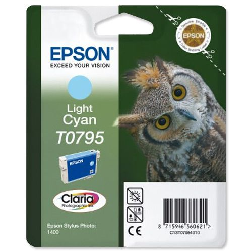 Epson T0795 Inkjet Cartridge Owl High Yield Page Life 520pp 11ml Light Cyan Ref C13T07954010