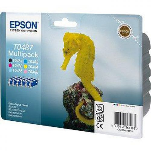 Epson T0487 IJCart Seahorse Black/Cyan/Magenta/Yellow/LC/LM 450pp 78ml Ref C13T04874010 [Pack 6]